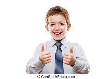 Smiling young businessman child boy gesturing thumb up...