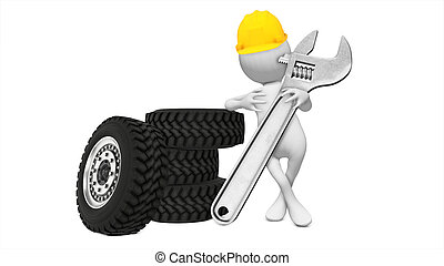 Tire mechanic holding wrench