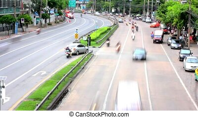 Traffic on road in Bangkok, Thailand. HD. Timelapse speed...