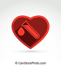 Donor blood heart and Circulatory system icon, vector...