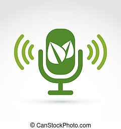Green leaves and microphone ecological theme icon, vector...