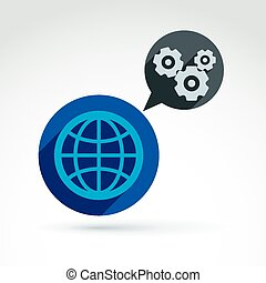 Globe with gears, global business a