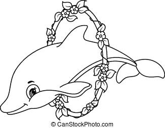 Kolorowanie, Strona, delfiny