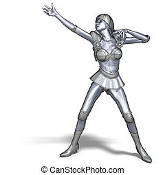 powerful silver heroine rescues the world - 3D rendering of...
