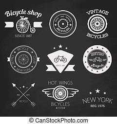 Set of vintage bike shop logos White logo - Set of vintage...