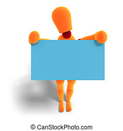 orange / red manikin holds a business card - 3D rendering of...