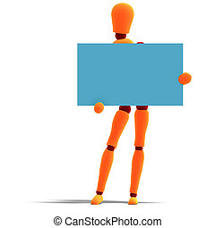 orange / red  manikin holds a business card