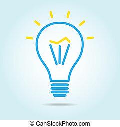 引かれる, ライト, マニュアル, 電球, ロゴ, アイコン