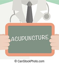 Acupuncture - minimalistic illustration of a doctor holding...