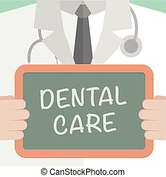 Dental Care - minimalistic illustration of a doctor holding...