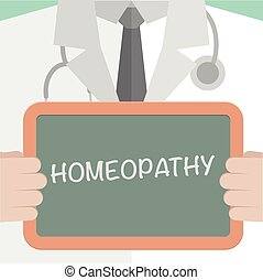 Homeopathy - minimalistic illustration of a doctor holding a...