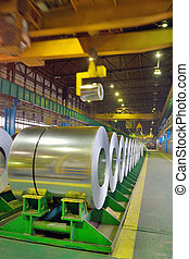 rolls of steel in a steel plant; galvanized steel coil