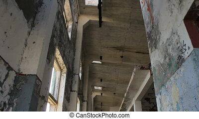 Interior of Abandoned Building - Video of shreds of vintage...