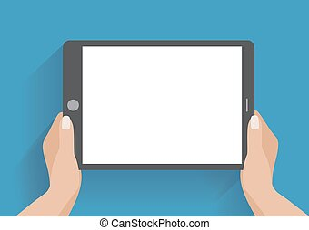 Hand holding smartphone with blank screen - Hands holing...