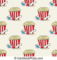 Seamless vector pattern with doodle pop corn baskets and...