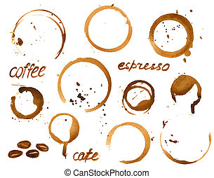 Vector illustration of coffee cup stains. Watercolor painted...