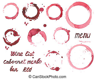 Vector set of watercolor painted wine stains on white...