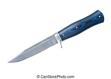 Hunting knife made of Damascus steel with blue handle...