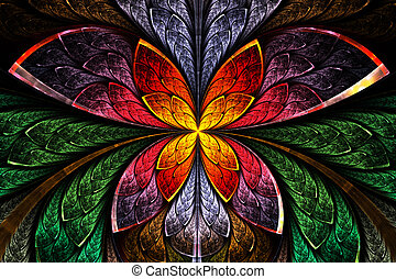 Multicolored symmetrical fractal pattern as flower and...