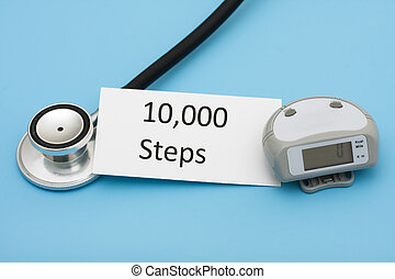 Walking for a Healthy Heart - A stethoscope and a pedometer...