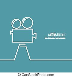Old movie camera with reel on a blue background Symbol of...