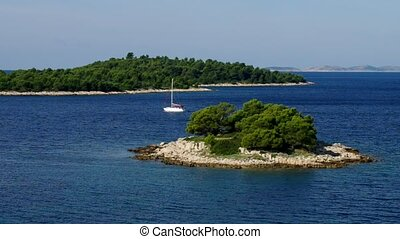 Island in Adriatic Sea and boat
