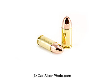 Two 9mm bullets on white