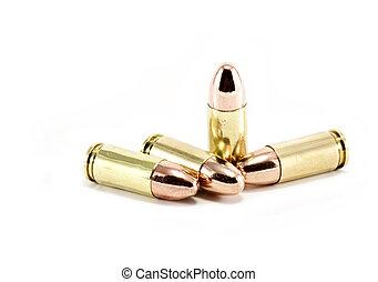 cuatro, 9 Mm, balas, blanco