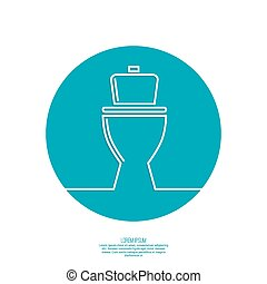 toilet icon, wc, blue background. Vector illustration eps...