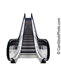 Escalator, conceptual image. - Escalators isolated on white...