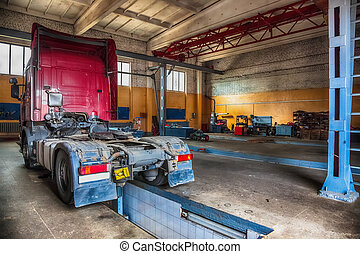 Truck or lorry repair shop service garage interior