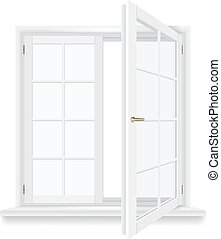 open window vector - open window isolated, detailed vector...