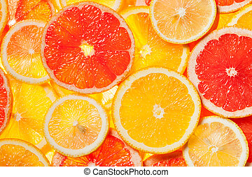 Colorful citrus fruit slices - Colorful citrus fruit -...