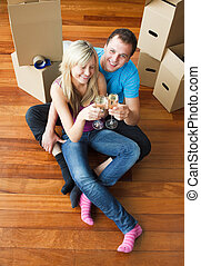 Happy lovers moving house and drinking champagne - Happy...