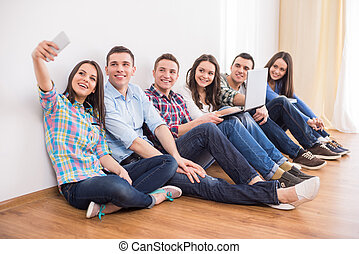 Students. - Education and people concept. Group of students...