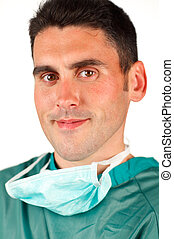 Surgeon smiling after an operation