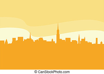 Vector city silhouette - New York city silhouetteVector...