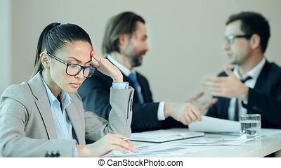 Negotiation Failure - Focus on business lady frustrated by...