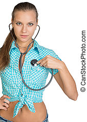 Woman using stethoscope on herself, looking at camera....
