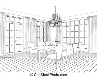 Sketch of classic dining area with vintage furniture