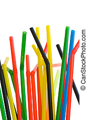 Drinking straws - Colorful drinking straws isolated on a...