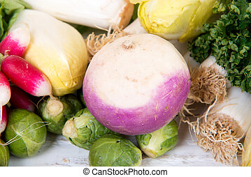 turnip with different vegetables around