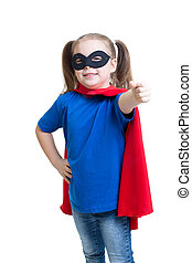 child girl weared superhero costume isolated on white
