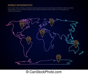 World infographic vector map on black on white background