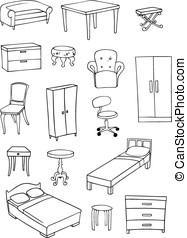 furniture vector set - furniture vector background set on...