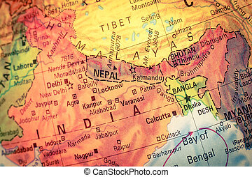 Map of Nepal and Bhutan Close-up image - Vintage Map Nepal...