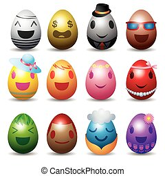 Easter Eggs with Smile Emotion Face - Easter Set