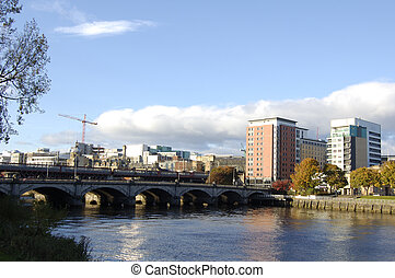 Glasgow-03-0022 - City skyline and bridges at Central...