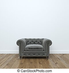 Black velvet Armchair In Empty Interior Room Stock Photo: