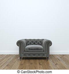 Black velvet Armchair In Empty Interior Room Stock Photo: